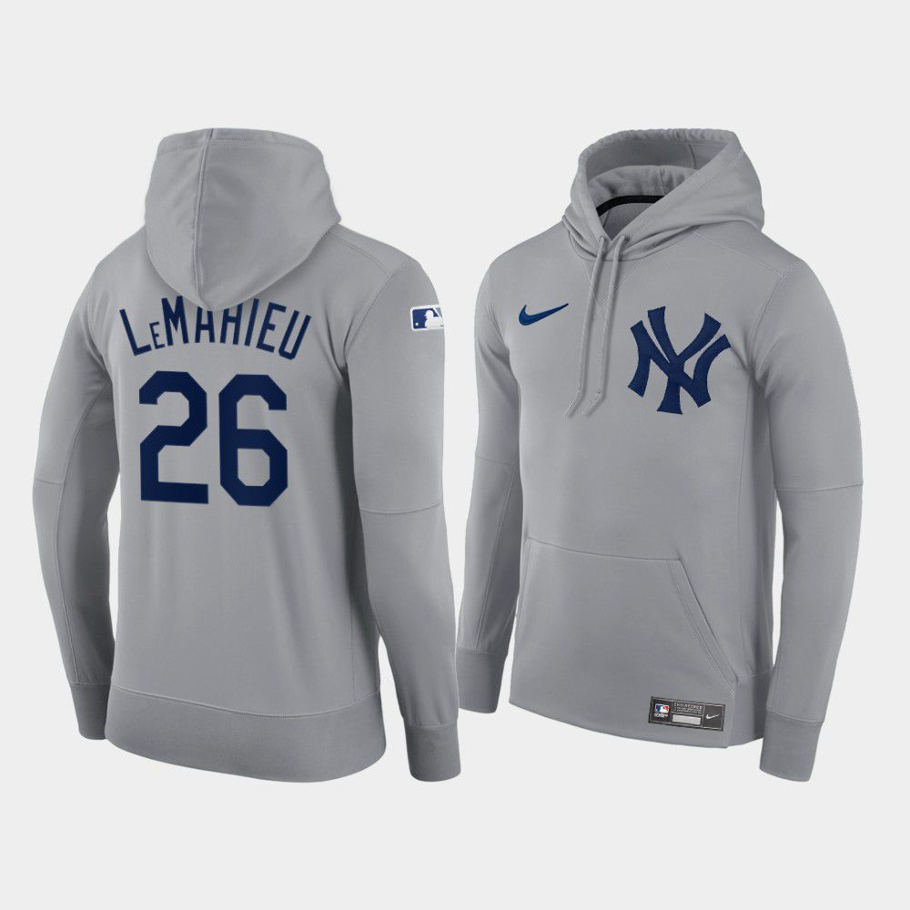 Cheap Men New York Yankees 26 Lemahieu gray hoodie 2021 MLB Nike Jerseys